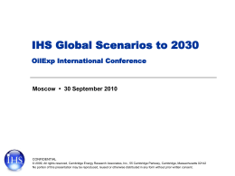 IHS Global Scenarios to 2030 OilExp International Conference