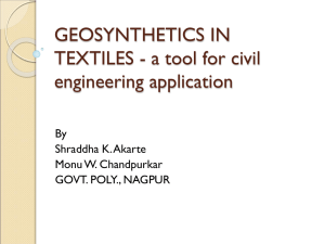 GEOSYNTHETICS IN TEXTILES-a tool for civil engineering application
