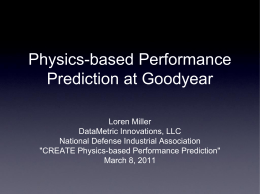 Physics-based Performance Prediction at Goodyear