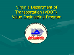 Virginia DOT VE Program Success by Mike Finney