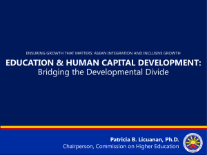 Dr. Patricia Licuanan Education and Human Capital Development