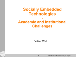 Social Embedded Technologies
