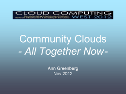 Community Clouds - All Together Now -