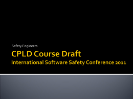CPLD Course Draft - System Safety Society