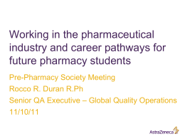 Working in the pharmaceutical industry and career pathways for