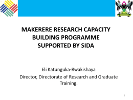 makerere research capacity building programme supported by sida