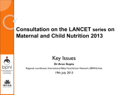 Consultation on the LANCET series on Maternal