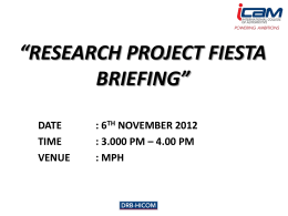 BRIEFING ON RESEARCH PROJECT