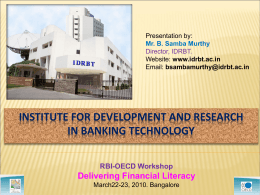 Institute for Development and Research in Banking Technology Role