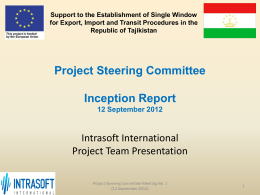 Presentation of the First Project Steering Committee meeting