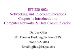 IST 220-001: Networking and Telecommunications