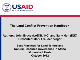 Module 2: Land and Conflict Prevention Handbook (Freudenberger)