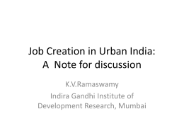 Job Creation in Urban India