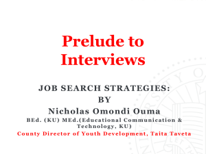 Prelude to Interviews (Job search strategies)