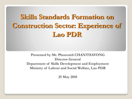 Skills Standards Formation on Construction Sector