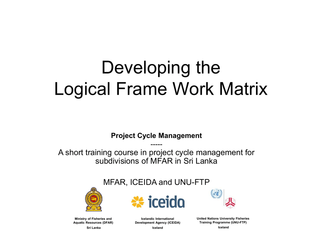 Developing The Logical Frame Work Matrix