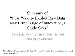 New Ways to Exploit Raw Data May Bring Surge of Innovation