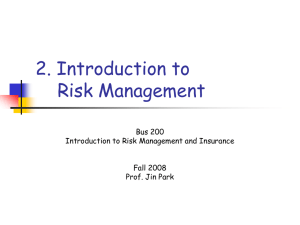Topic 2. Risk and Risk Management