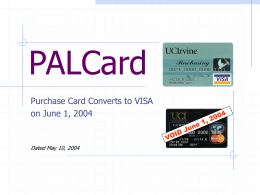 PowerPoint Presentation - PALCard VISA Purchasing Card