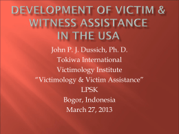Development of Victim & itness protection in the USA