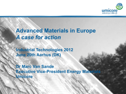 Dr. Marc Van Sande: Advanced Materials in Europe – A case for action