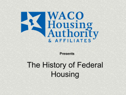The History of Federal Housing NAHRO