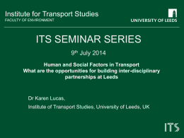 Human and Social Factors in Transport: What are the opportunities