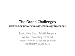 Grand Challenges challenging universities of technology to