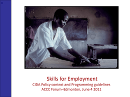 Skills for Employment - Colleges and Institutes Canada