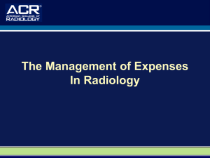 The Management of Expenses In Radiology