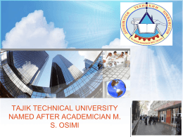 Tajik technical university named after academician M. S. Osimi
