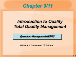 CH9 AND CH11 QUALITY MANAGEMENT and TQM