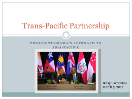 President Obama & the Trans-Pacific Partnership. - US-Global