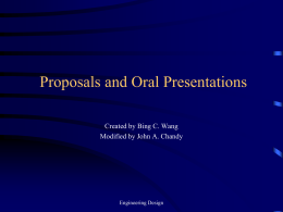 Oral Presentations and Proposals