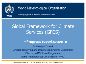 The Global Framework for Climate Services (GFCS)