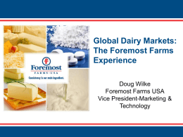 Foremost Farms USA Marketing and Sales Plan 2011