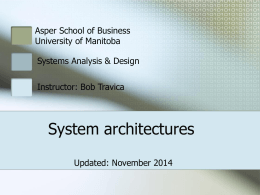 System architectures - University of Manitoba