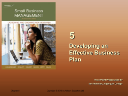 Chapter 5 Developing an Effective Business Plan
