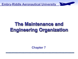 The Maintenance and Engineering Organizational Chart