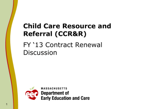 Child Care Resource and Referral (CCR&R)