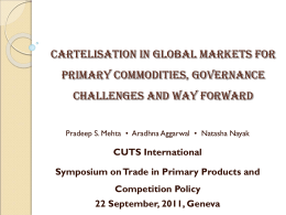 Cartelisation in global markets for primary commodities