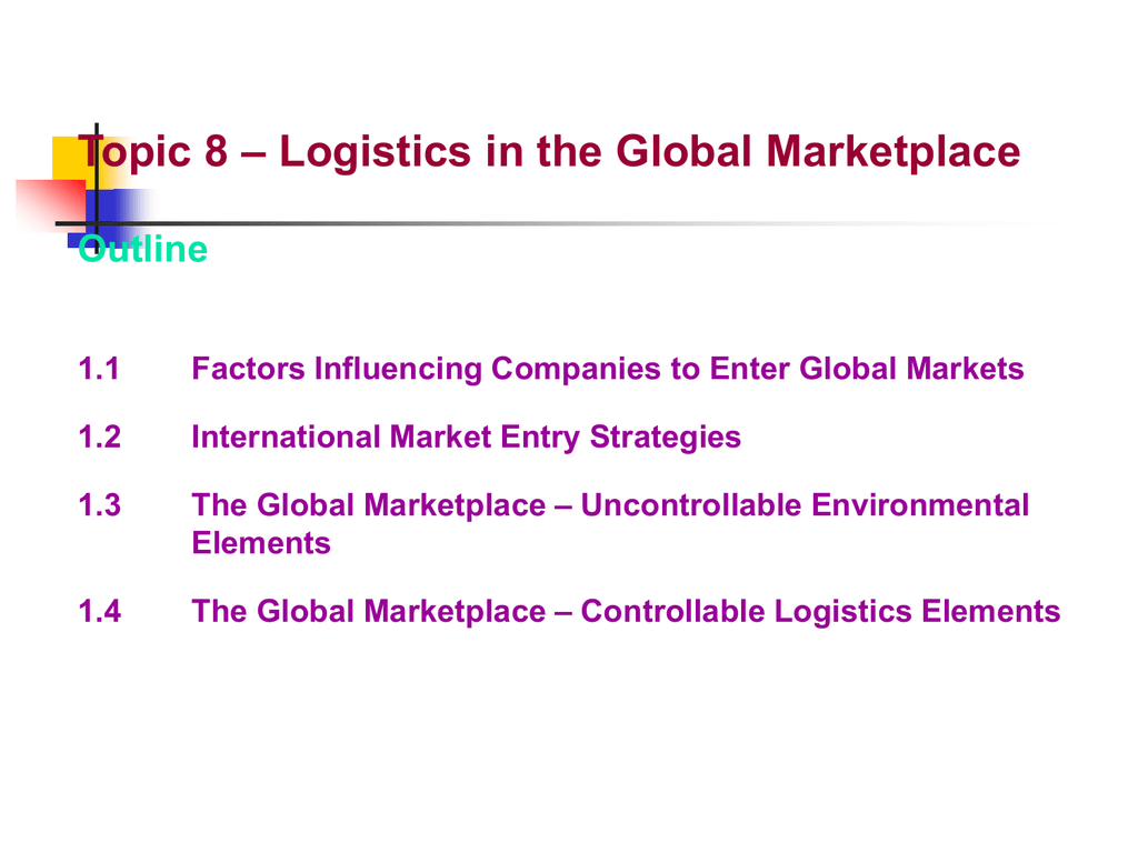 Uncontrollable Environmental Elements 1 4 The Global Marketplace