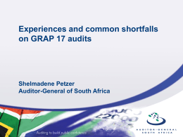 Experiences and common shortfalls on GRAP 17 audits