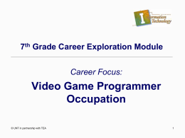 Video Game Programmer Occupation PowerPoint