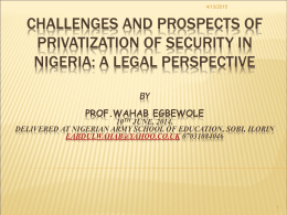 Privatization of Security in Nigeria
