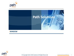 iWINDOW Path Solutions Key Features