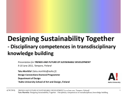 Disciplinary Competences in Transdisciplinary Knowledge Building