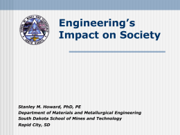 Societal Impact of Engineering - South Dakota School of Mines and