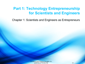 Part 1: Technology Entrepreneurship for Scientists and Engineers