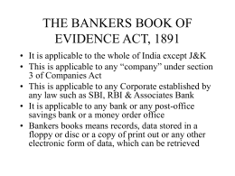 acts affecting bankers